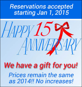 Happy 15th Anniversary from Shady Beach to our customers!